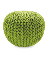 Mini Knitted Pouffe - Lime