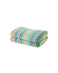 Mixed Stripe Hand Towel 2 Pack - Green & Grey