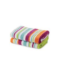 Mixed Stripe Hand Towel 2 Pack - Orange & Pink