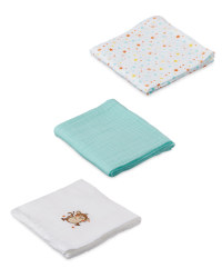 Monkey Aqua Muslin Cloths 3 Pack