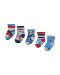 Monkey Print Baby Socks 5-Pack