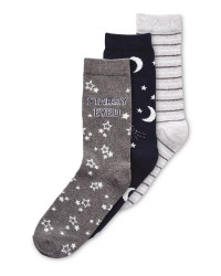 Moon/Stars Avenue 3 Pack Socks