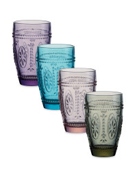 Embossed Multi Colour Glasses 4 Pk