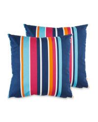 Multi Stripe Garden Cushion 2 Pack