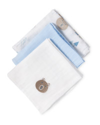Muslin Cloths 3-Pack Blue Bear
