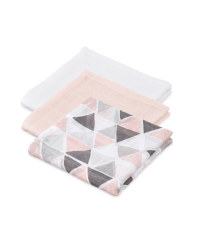 Pink Geo Muslin Cloths 3 Pack