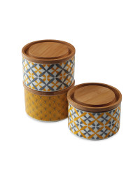 Mustard Pattern Stackable Canisters