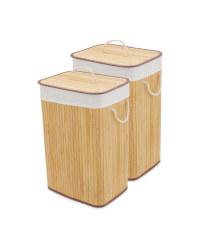 Natural Bamboo Laundry Basket 2 Pack