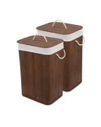 Brown Bamboo Laundry Basket 2 Pack