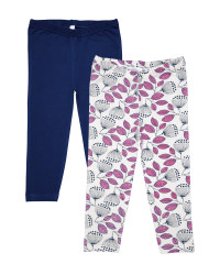 Navy & Pink Floral Leggings