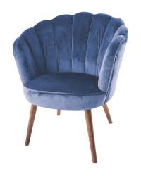 Navy Blue Velvet Scalloped Chair