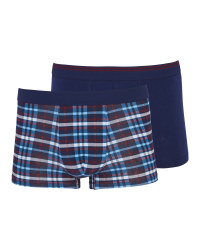 Mens' Navy Check Hipsters 2 Pack