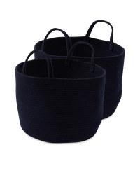 Navy Cotton Storage Bucket 2 Pack