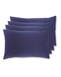 Navy Easy Care Pillow Case 4 Pack