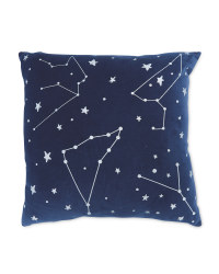Navy Silver Foil Cushion
