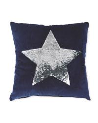 Navy Silver Sequin Star Cushion