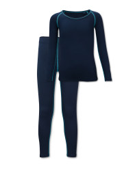 Kids' Navy Ski Base Layer Set