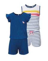 Navy/Stripe Girls' Playsuit 2 Pack