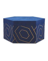 Navy/Gold Velour Storage Box