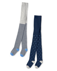 Navy/Grey Stripes Infants Tights