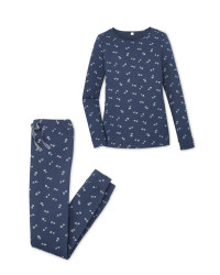 Avenue Navy/Silver Hearts Pyjamas