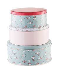 Nested Floral Storage Tins 3 Pack