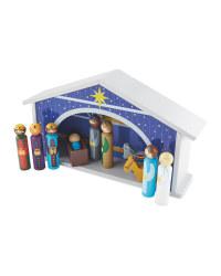 Little Town Wooden Nativity  Scene