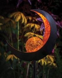 Solar Moon Crackle Ball Stake Light