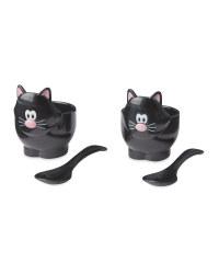 Black Cat Novelty Egg Cup Set