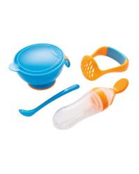 Nuby Mash 'N' Feed Pot - Blue/Orange
