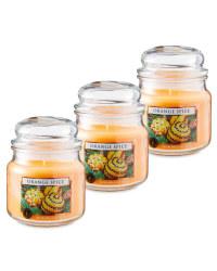Orange Spice Glass Jar Candle 3 Pack
