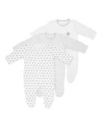 Stars Baby Sleepsuits 3 Pack