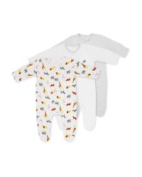 Safari Baby Sleepsuits 3 Pack