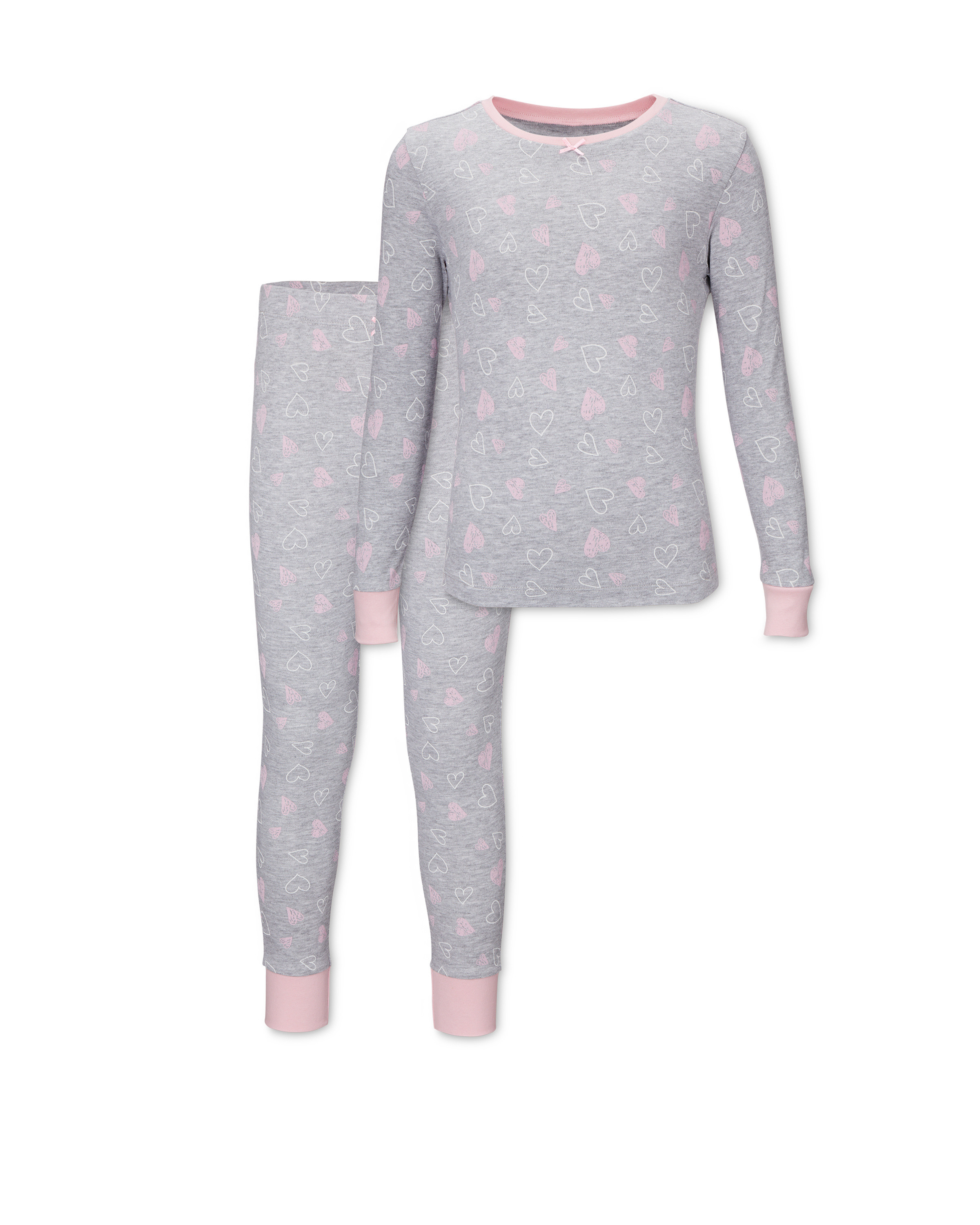 Kids' Organic Grey Heart Pyjamas