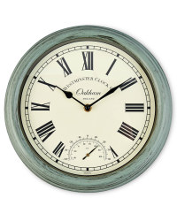 Outdoor Wall Clock & Thermometer - Green