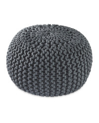 Outdoor Knitted Pouffe - Grey