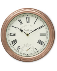 Outdoor Wall Clock & Thermometer - Copper
