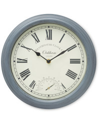 Outdoor Wall Clock & Thermometer - Grey