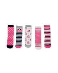 Owl Print Children's Socks 5 Pack