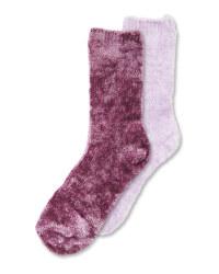 4-8 Ladies Purple Chenille Socks