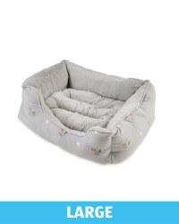 Large Floral Plush Pet Bed - Grey