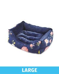 Large Floral Plush Pet Bed - Navy