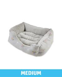 Medium Floral Plush Pet Bed - Grey