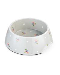 Large Grey Floral Pet Bowl