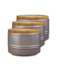 Small Grey Kitchen Canister 3 Pack