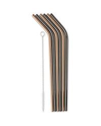Black/Rose Gold Reusable Straws 6 Pk