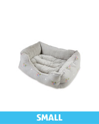 Small Floral Plush Pet Bed - Grey