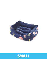 Small Floral Plush Pet Bed - Navy