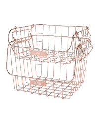 Rose Gold Tiered Wire Baskets 2 Pack