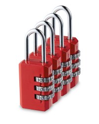 Combination Padlock 4-Pack - Red